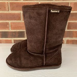 BearPaw Eva brown suede sheepskin lined boots